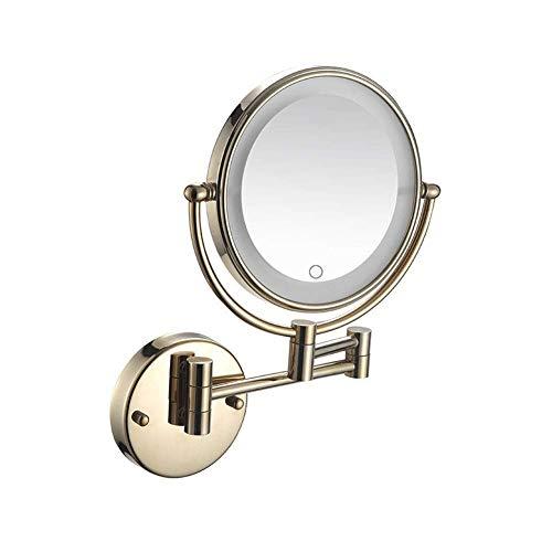 Espejo de baño LED Espejo de maquillaje iluminado Espejo montado en la pared Pantalla táctil Ampliación 5X Brazo doble Extender Espejo de pared giratorio de 360 ° redondo de doble cara Instalar ocu