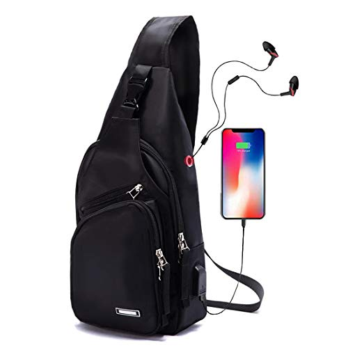 Men Sling Backpack Nylon Water Resistant Shoulder Chest Crossbody Sling Bag with USB Charging Port Black