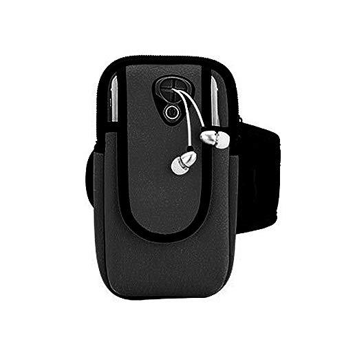 Brassard Sport Téléphone iPhone Jusqu'à 6.0 Pouces Universel Brassard de Course Ajustable Sangle d'extension Écologique Porte-Clés Poche de Carte-Touch ID (B#Noir)