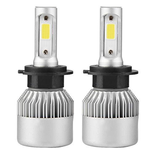 Par de faros delanteros LED para coche H7 LED 36W 8000LM Faros delanteros para coche Hi/Lo Beam Auto Bombillas 6000K (Plata)