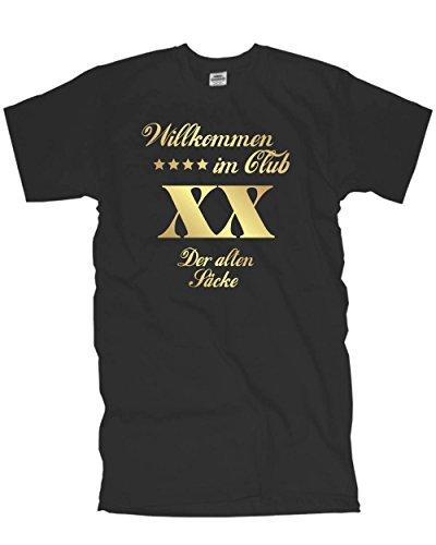 Fun T-Shirt Willkommen im Club der Alten Säcke 40. 50. 60. 70. 80. Geburtstag Wunschzahl Bedruckt, Geburtstagsgeschenk T-Shirt (FSG025) 5XL