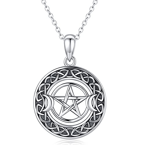 Triple Moon Goddess Necklace 925 Sterling Silver Pentagram Pendant Pentacle Necklace Celtic Jewelry Star Gifts for Women Girls