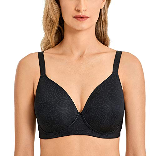 DELIMIRA Women's Full Coverage Wireless Lightly Padded Plus Size Seamless Bra Black 34E