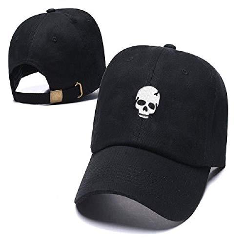 PPSTYLE Cráneo Gorra Sombrero Calle Cráneo Divertido Gorra Bordada Gorra Sombrero Personalizado Sombrero Curvo-Negro