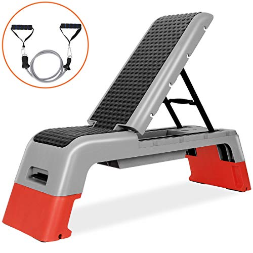ANT MARCH Multifunctional Fitness Deck Professional Aerobic Deck Stepper for Exercise Adjustable Workout Aerobic Stepper Step Platform Strength Training Adjustable Benches for Home Gym (Red)