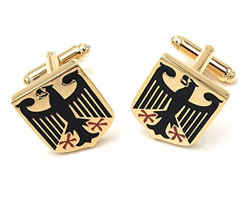 Roestvrijstalen manchetknopen goudkleurige Duitse bundes adelaar manchetknopen
