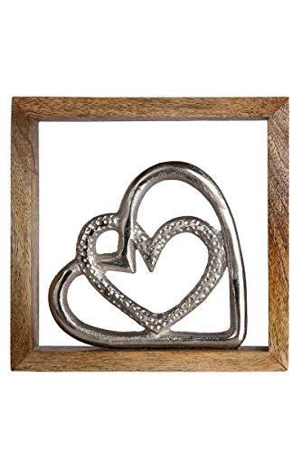 GILDE Wandbild Liebe Mangoholz Höhe 20 cm Silber, Wanddeko, Geschenk