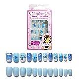 24 uñas falsas de color rosa nude mate con diseño de bailarina de cobertura completa para uñas falsas, uñas planas, para salón de belleza para niños