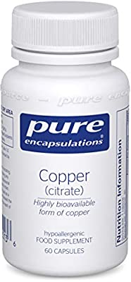 Pure Encapsulations - Copper (Citrate) - Highly Bioavailable Form of Copper - 60 Vegetarian Capsules