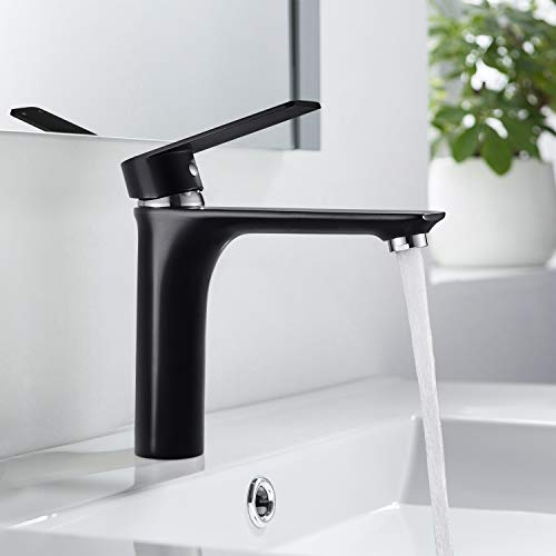 BONADE Schwarz Wasserhahn Bad Einhebel Waschtischarmatur Waschbecken Mischbatterie Einhebelmischer Waschbeckenarmatur für Badezimmer