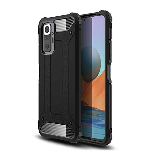 KERUN Funda para Carcasa Telefono Xiaomi Redmi Note 10 Pro, Estuche Protectora Ultrafina Híbrida de Doble Capa [TPU + PC], Duradera Resistente Cubierta Protectora [Armadura]. Negro