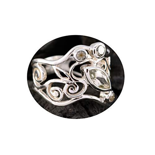 joyas plata buenas piedras preciosas multi forma cuatro piedras facetadas anillo de amatista verde - anillo de plata 925 amatista verde - nacimiento de marzo piscis