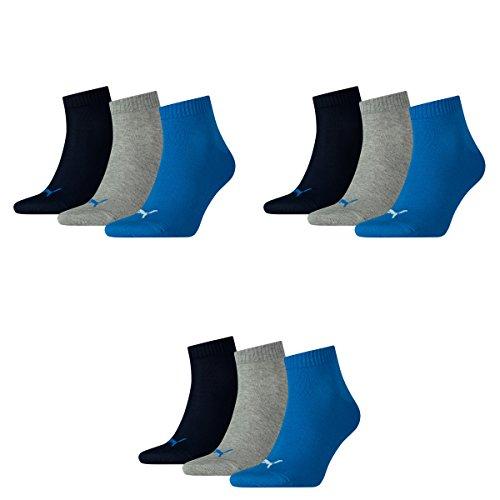 Puma 9 Paar Unisex Quarter Socken Sneaker Gr. 35-49 für Damen Herren Füßlinge, Socken & Strümpfe:43-46, Farbe:277 - blue/grey mélange