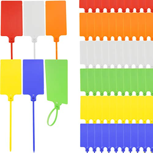 """LeonBach 60 Pcs 2.3"""" x 10"""" Waterproof Large Shipping Tags, Seal Tags Zip Tie Label Tags Acquaracer Tag Plastic Tags for Labeling, Red & Orange & Yellow & Green & Blue & White"""