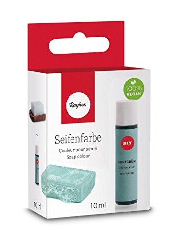 Rayher Hobby 34246408 Seifenfarbe, 10 ml, geruchsneutral, 100% vegan, schadstofffrei und ökologisch abbaubar, im wiederverschließbaren Kunststofffläschchen mit Schraubdeckel, gut dosierbar, mintgrün