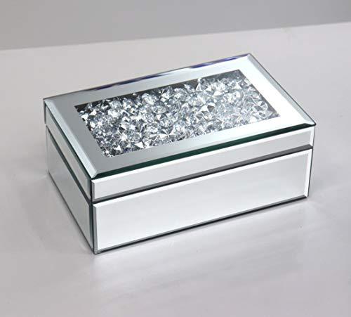 qmdecor Joyero de almacenamiento de plata con diamantes aplastados de lujo de vidrio de alto grado con espejo para mujer