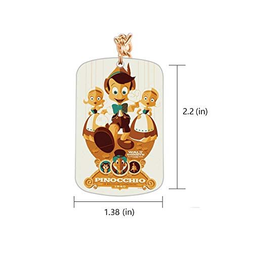 DISNEY COLLECTION Pinocho Fan Art Keychain Golden Handbag Purse Hanging Charms with Carabiner Clip Best Gift for Women Girls Men Husband Wife