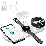 AMZLIFE Wireless Charger,5 in 1 Qi Induktive ladestation für Samsung Galaxy Watch/ S21,für Apple Watch SE, Airpods Pro,15W Kabelloses Ladegerät für iPhone 12/11/SE/XR/Xs Max/8 [Mit 18W QC 3.0 Adapter]
