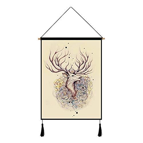 mmzki Nordic Tapisserie kreative Wanddekoration Elch hängen Gemälde E 45 * 65cm