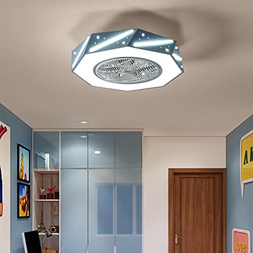 YUNZI Moderno Ventilador de Techo con iluminación, 50cm Silencio Lámparas de Techo con Ventilador, LED 46W Atenuación con Mando a Distancia por Cuarto de los niños, Chico, Regalo de niña,Azul