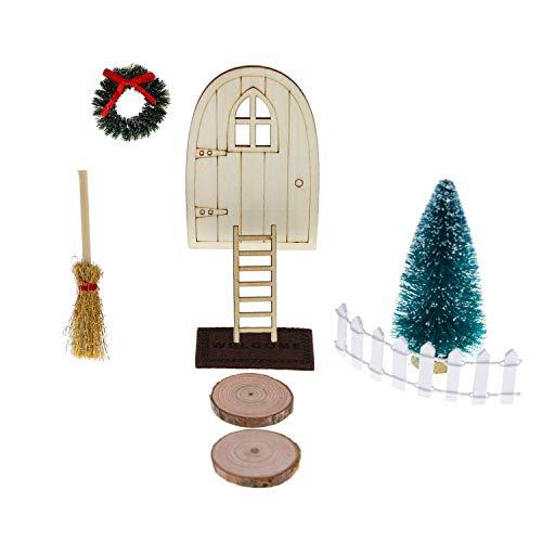 witgift Miniatur Puppenhaus Wichteltürs Garten Möbel Deko Holztür + Treppen + Fußmatte +Besen + Weihnachtskranz + Weihnachtsbaum +Zaun + Holzscheiben