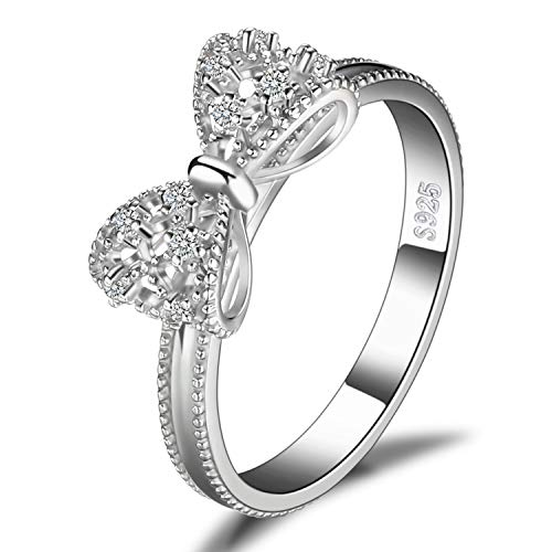 JewelryPalace Bow Love Knot Promise Ring for her, White Gold Plated 925 Sterling Silver Rings for Women, Anniversary Wedding CZ Simulated Diamond Ring, Girls Womens Jewellery Gifts
