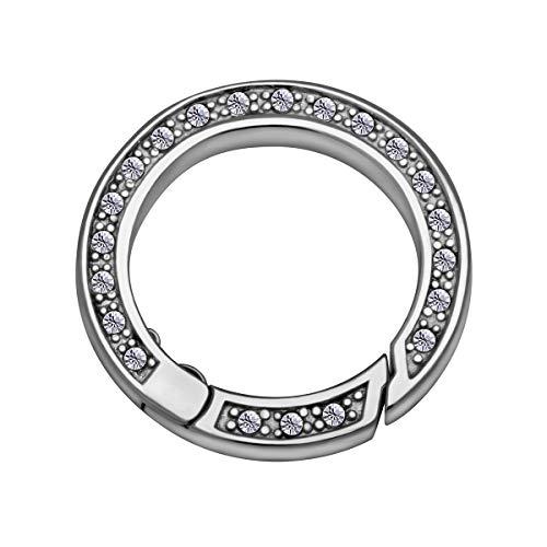 Quiges Clip Ring Carrier Silber 22 mm Edelstahl Verbindungsring für Kette und Coin Anhänger mit Kristall Zirkonia
