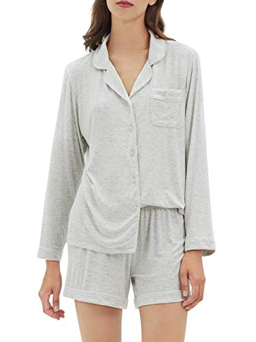 SIORO Pajamas for Women Long Sleeve Top Short Pants 2 Piece Sleepwear Soft Pj Set Loungewear, Heather Grey, Medium