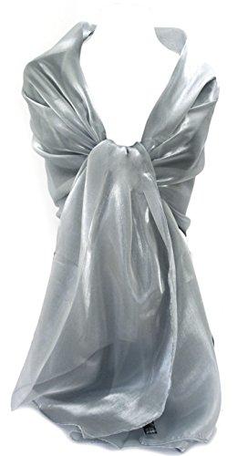 GFM Glänzend Shimmering schillernden Schal (SHIM-MP-CH-Silber) L:190cm