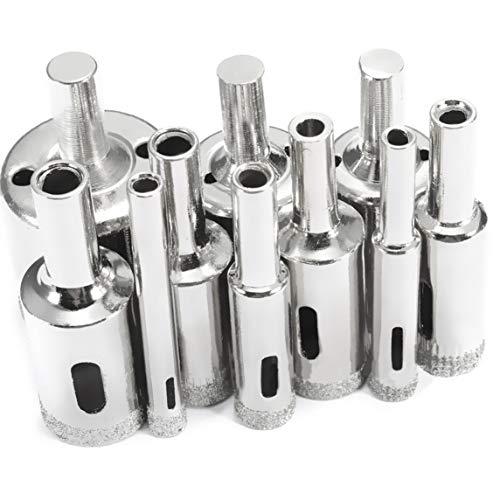 BiaBai Juego de brocas con revestimiento de diamante de 10 Uds, Brocas de taladro de sierra de cerámica de vidrio de mármol de 3-50mm para herramientas eléctricas
