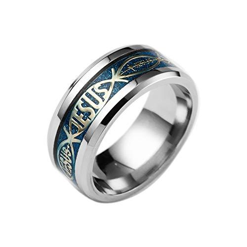 BlackAmazement 316L Edelstahl Ring Jesus Ichthys Fisch Christentum Gold blau Silber schwarz Herren Damen (Blau, 68 (21.6))