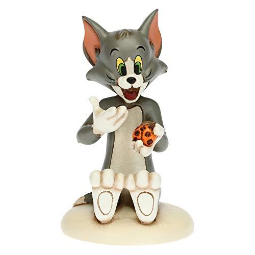 THUN - Soprammobile Gatto Tom con Coccinella Portafortuna - Accessori per la Casa da Collezionare - Linea Tom e Jerry, Warner Bros - Formato Piccolo - Ceramica - 7,2 x 7,6 x 11,6 h cm