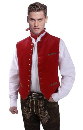 Moschen-Bayern Chaleco de terciopelo para hombre, color rojo