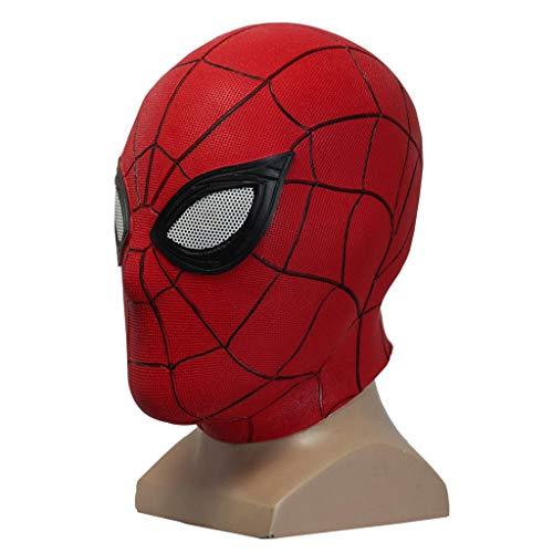 QWEASZER Spider-Man: Far from Home, Marvel Avengers Red Spiderman Full Face Máscara de látex Casco Sombrero, Accesorios de Cosplay de película, Cobertor de Cabeza de Halloween,Red-OneSize