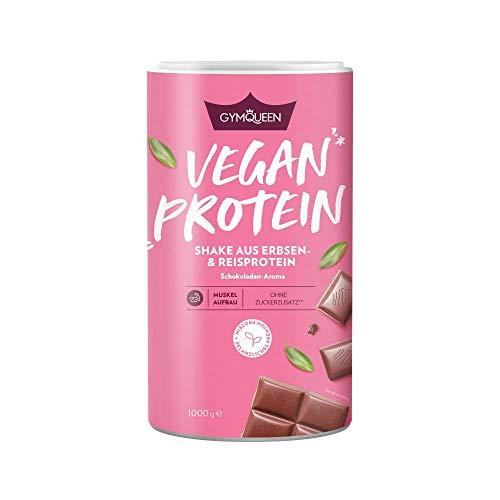 GymQueen Vegan Protein 1000g | Pflanzliches Eiweiß-Pulver mit 80% Eiweißanteil | mit Erbsen- und Reisprotein plus Aminosäuren | Schokolade