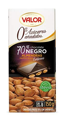 Valor Chocolate Negro 70% con Almendras 0% Azúcares Añadidos, 150g