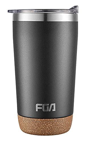 FGA Thermobecher Kaffeebecher to go Edelstahl Travel Mug 600ml Isolierbecher BPA-frei Reisebecher für heiße und kalte Getränke Schwarz