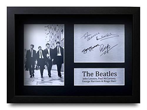 HWC Trading The Beatles A4 Gerahmte Signiert Gedruckt Autogramme Bild Druck-Fotoanzeige Geschenk Für John Lennon Ringo Starr Paul McCartney George Harrison Musik-Fans
