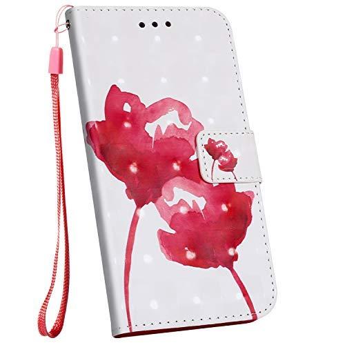 Ysimee Compatible avec LG Stylo 5 Etui Portefeuille en Cuir Motif Colorés Etui avec Porte-Cartes Fermeture Magnétique Folio à Rabat Wallet Case Housse de Protection avec Fonction Stand,Rose Fleur