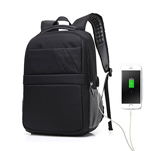 15.6' Laptop Backpack with USB Charging Port Anti-Theft, Black Lightweight Water Resistant Shoulder Casual Bag for School, Work, Travel