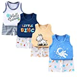 XM-Amigo 8 Paquetes e Chalecos sin Mangas para Bebé niños Camisetas sin Mangas Camisetas sin Mangas Pantalones Cortos Conjuntos de Ropa