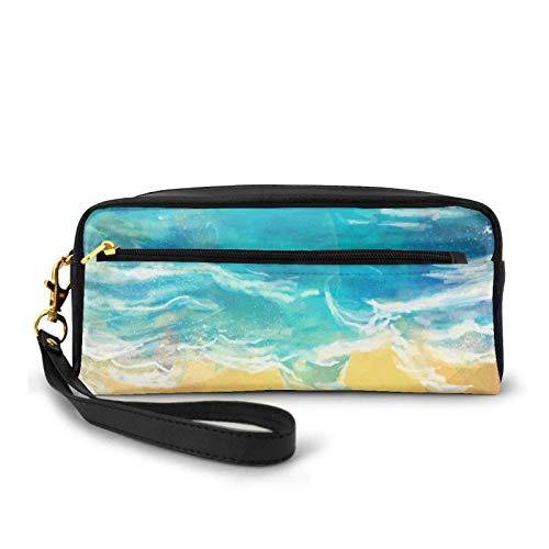 Pen Case,Bolso De La Pluma De La Playa Del Mar Azul, Bolsos De La Pluma Impresionantes Para Casarse El Cumpleaños Del Día De Fiesta,20x5.5x8.5cm