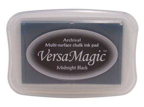Tsukineko Versamagic Stempelkissen, Kreideeffekt, Farbton: Midnight Black, Synthetic Material, schwarz, 9.7 x 6.6 x 1.8 cm