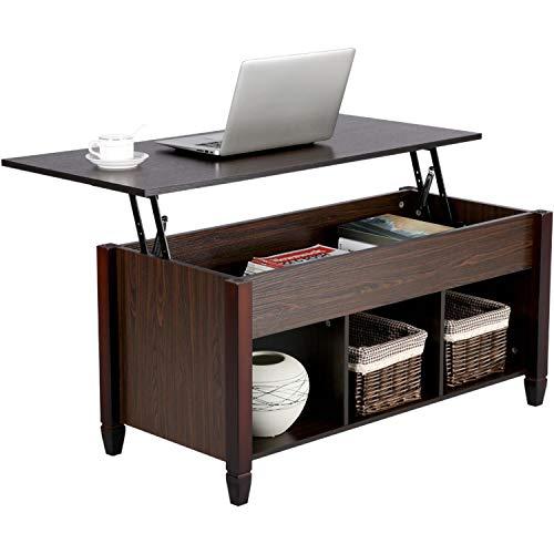 Yaheetech Couchtisch mit Höhenverstellbarer Platte, Wohnzimmertisch, ausziehbarer Kaffeetisch, Sofatisch für Wohnzimmer Büro, Espresso
