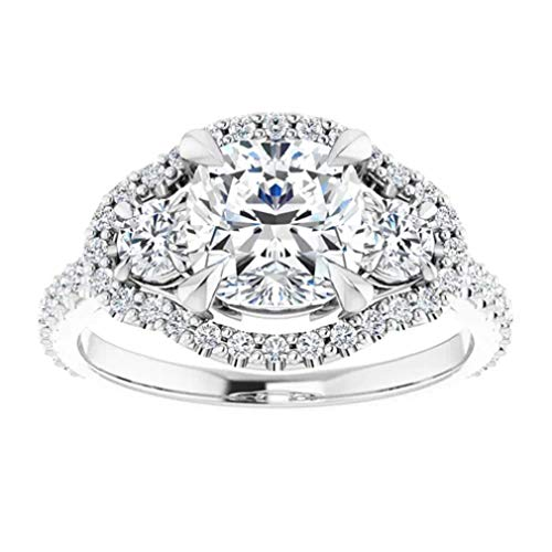 Gopi Gems Beautiful Victorian Engagement Ring, Cushion 2.10CT, Colorless Moissanite Engagement Ring, 925 Sterling Silver Ring, Promise Ring, Wedding Ring, Perfact for Gift Or As You Want (V)
