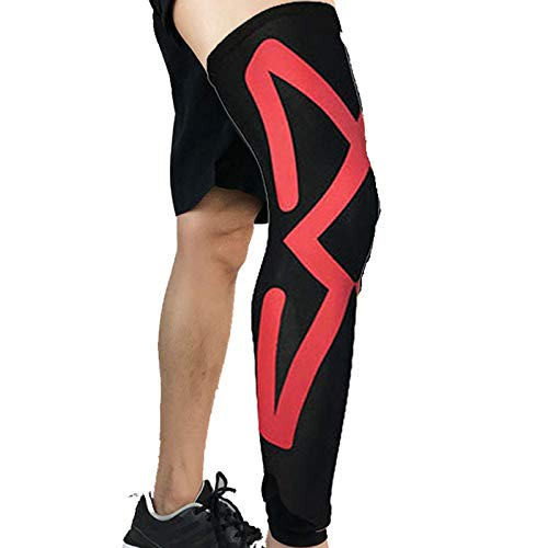QWET Rodilleras deportivas extendidas, de silicona antideslizante de doble presión, equipo protector transpirable, apto para varios deportes como baloncesto y voleibol, rojo, M