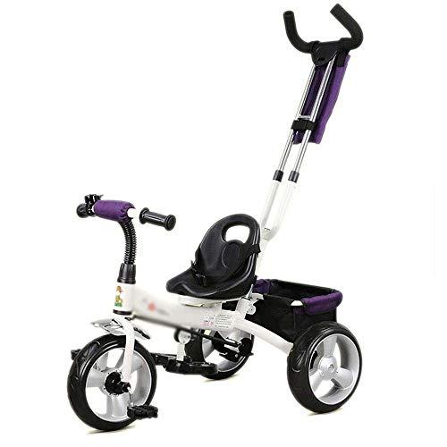 Bicicleta para Niños y Niñas Carro niño, triciclo del bebé cochecito con asa de empuje, Asiento trasero frente, ruedas de caucho, con mango de empuje for la dirección fácil, for los muchachos del niño