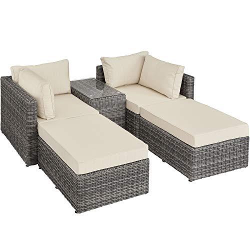 TecTake 800694 Sillón Doble de Ratán Aluminio, Muebles de Jardín, con Mesa, Multifunción, Combinación Versátil, Incl. Cojines (Gris | No. 403169)
