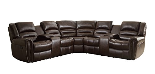 Homelegance 3 Piece Bonded Leather Sectional Reclining Nail Head Accent Sofa with 2 Cup Holders Console, Brown