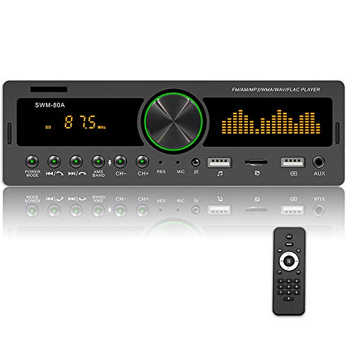 Single Din Autoradio Bluetooth FM AM Autoradio mit Zwei USB / AUX-in / SD / TF-Kartenanschlüssen Audiosysteme Multimedia Car Player mit Fernbedienung + Mobile APP + Bunte Lichter